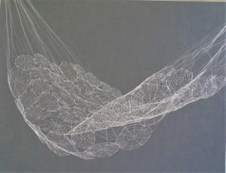 Marie Ange Guilleminot, Le Hamac en dentelles, 1999, dentelle au fuseau par Mylène Salvador-Ross, dentellière