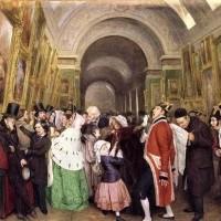 François Auguste Biard 2, Quatre heures au Salon fermeture du Salon annuel de peinture dans la Grande Galerie du Louvre, 1847, huile sur toile, 57 x 67 cm, Paris, Louvre